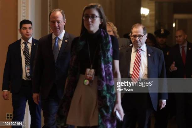 S House impeachment managers Rep Adam Schiff Rep Jerry Nadler and Rep Hakeem Jeffries arrive at the Senate side of the US Capitol for the Senate...