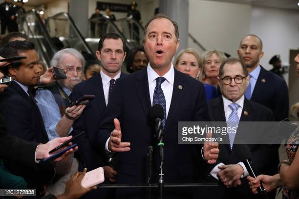 House impeachment managers Rep. Jason Crow , Sen. Adam Schiff , Rep. Sylvia Garcia , Rep. Zoe Lofgren , Rep. Jerrold Nadler and Rep. Hakeem Jeffries...