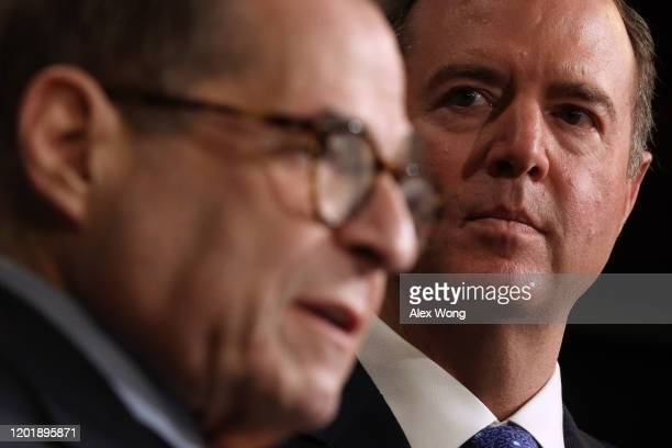 House impeachment managers Rep Jerry Nadler speaks as Adam Schiff hold a news conference after day five of the Senate impeachment trial against...