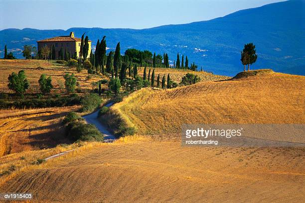 house in a field in the siena countryside, tuscany, italy - travel14 stock pictures, royalty-free photos & images