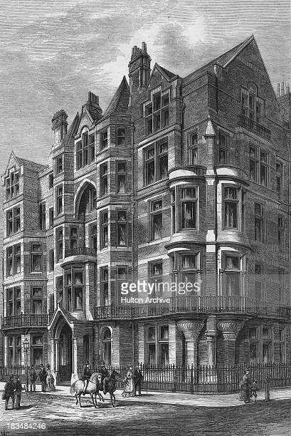 A house in Brook Street Grosvenor Square Mayfair London circa 1875 The house was designed by architect Charles Foster Hayward Engraving by T...
