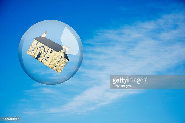 House in bubble floating