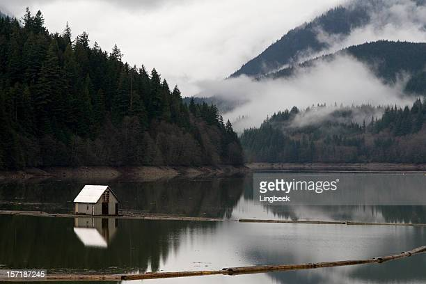 house in capilano lake - grouse mountain stock photos and pictures