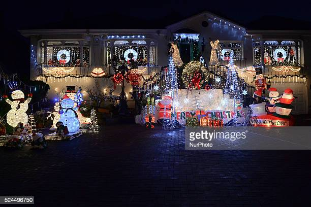 A house in Dalkey in the South of Dublin lights up with a variety of Christmas decorations as more and more houses around the Irish capital are...