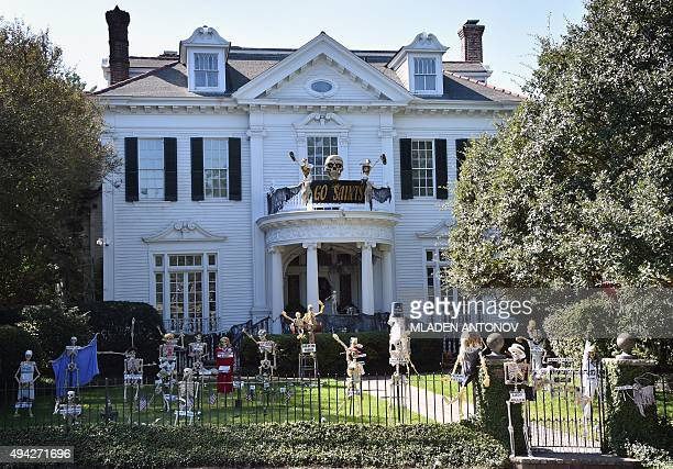 A house in the Garden District of New Orleans Louisiana wears special decorations on October 19 2015 as the city prepares to celebrate Halloween AFP...