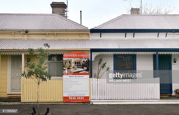 A house in the innercity suburb of South Melbourne is advertised for sale as a record quarterly fall in house prices confirmed Australia's property...