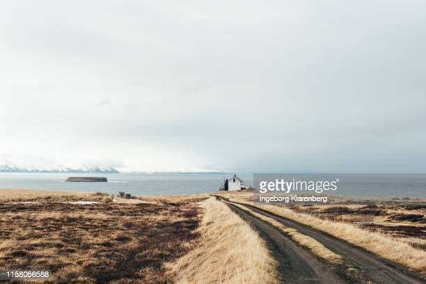 house in the middle-of-nowhere in iceland - husavik stock photos and pictures