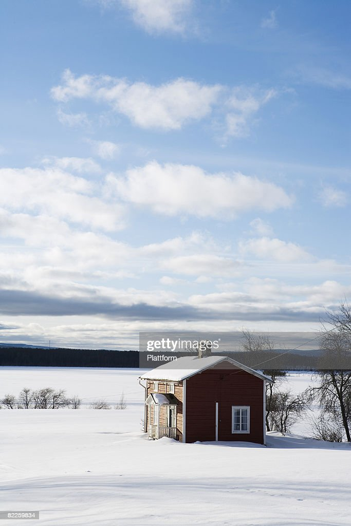 A house in the winter Lapland Sweden. : Stock Photo
