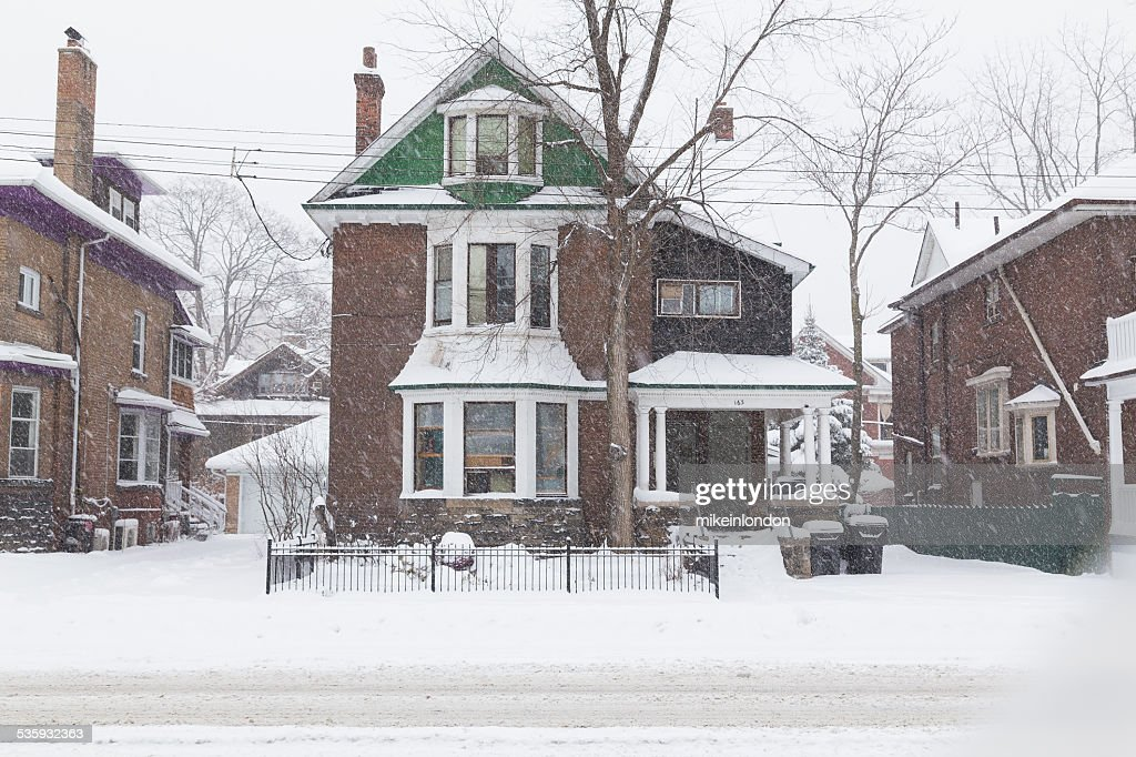 House in Toronto During a Snowstorm : Stock Photo