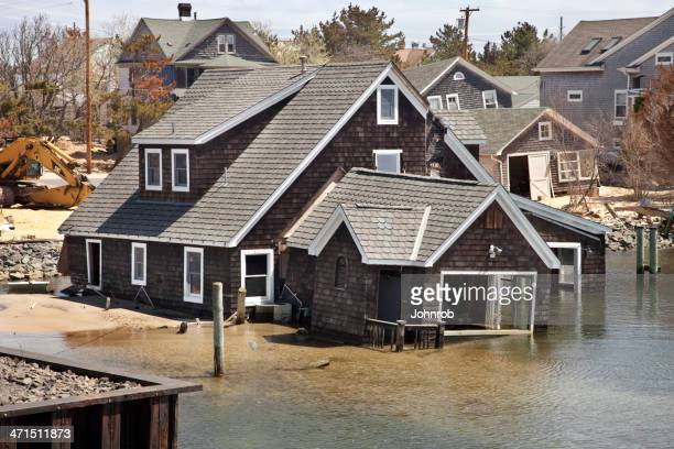 House in water at the  Jersey Shore after Super Storm