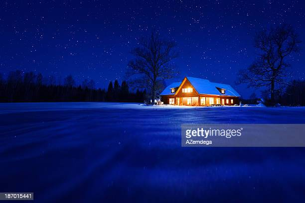 house in winter - heat stock pictures, royalty-free photos & images