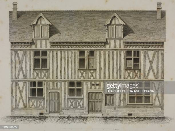 House in YvillesurSeine France drawing by Alfred Darcel engraving by JeanJoseph Sulpis from L'Architecture du V au XVI siecle et les Arts qui en...