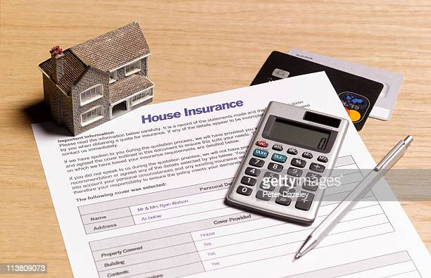 house insurance paperwork - home insurance stock pictures, royalty-free photos & images