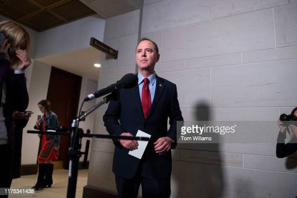 House Intelligence Chairman Adam Schiff DCalif speaks with the media in the Capitol Visitor Center after Gordon Sondland US ambassador to the...