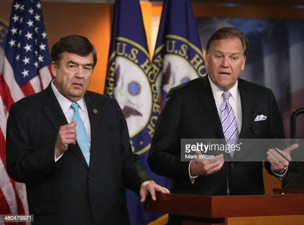 House Intelligence Chairman Mike Rogers and House Intelligence ranking member US Rep Dutch Ruppersberger speak to the media at a news conference on...
