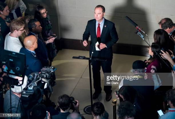 House Intelligence chairman Rep Adam Schiff DCalif speaks to reporters in the Capitol after learning the State Department had blocked Ambassador...
