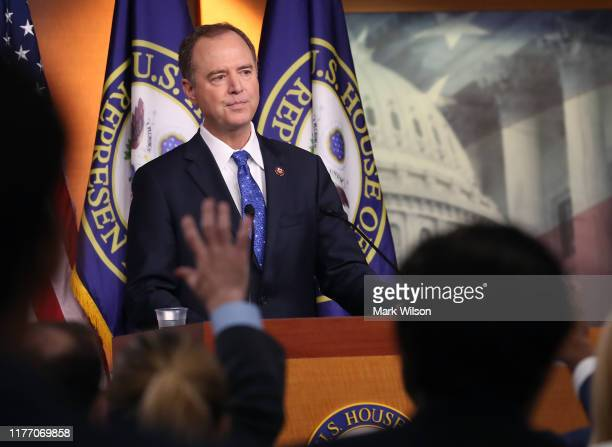 House Intelligence Chairman Rep Adam Schiff speaks to the media one day after House Speaker Nancy Pelosi announced that Democrats will start an...