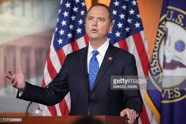 House Intelligence Committee Chair Adam Schiff speaks at the US Capitol in Washington DC on September 25 2019 US Democrats' explosive launch of an...