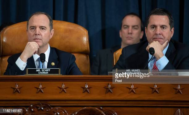 House Intelligence Committee Chairman Adam Schiff and ranking member of the House Intelligence Committee Devin Nunes listen to testimony during the...