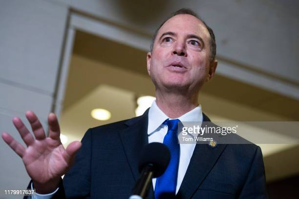 House Intelligence Committee Chairman Adam Schiff DCalif speaks to the media about releasing deposition transcripts of witness testimony related to...
