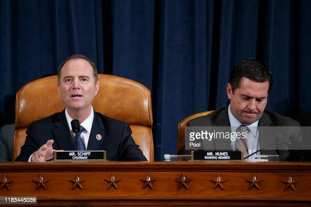 House Intelligence Committee Chairman Adam Schiff delivers his closing remarks alongside ranking member Rep Devin Nunes during a hearing before the...