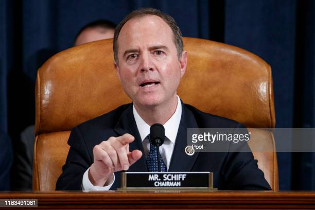 House Intelligence Committee Chairman Adam Schiff delivers his closing remarks following testimony from former State Department special envoy to...