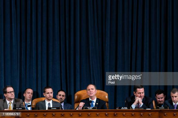 House Intelligence Committee Chairman Adam Schiff gives closing remarks with ranking member Devin Nunes following testimony by Laura Cooper deputy...