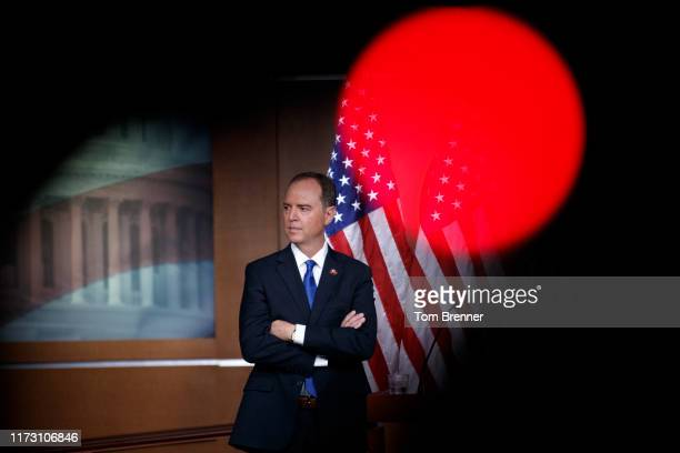 House Intelligence Committee Chairman Adam Schiff looks on during a weekly news conference held by House Speaker Nancy Pelosi on October 2 on Capitol...