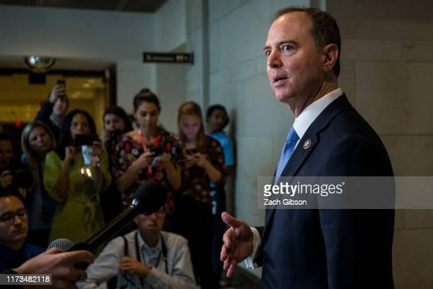 House Intelligence Committee Chairman Adam Schiff speaks to members of the press during a closeddoor deposition of Former Special Envoy to Ukraine...
