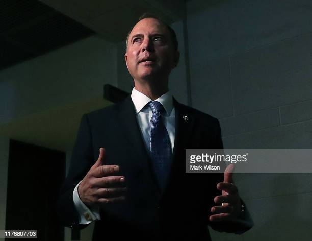 House Intelligence Committee Chairman Adam Schiff speaks to the media after attending a closed door meeting where former US Special Envoy for...
