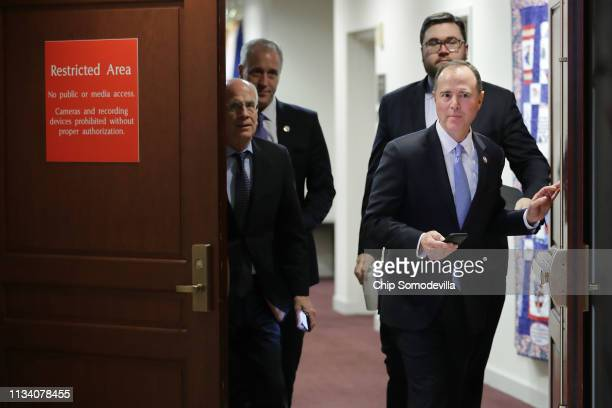 House Intelligence Committee Chairman Adam Schiff takes a break from hearing testimony from Michael Cohen former attorney and fixer for President...