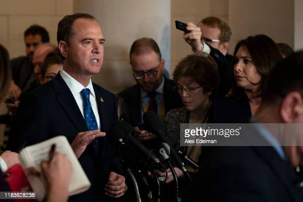 House Intelligence Committee Chairman Adam Schiff talks to the media during a break in testimony by Gordon Sondland the US ambassador to the European...