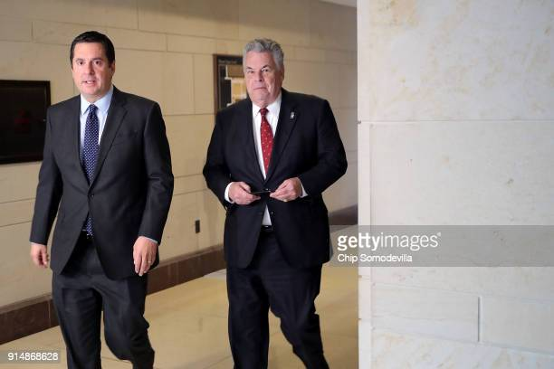 House Intelligence Committee Chairman Devin Nunes and Rep Peter King head for a House Republican conference meeting at the US Capitol February 6 2018...
