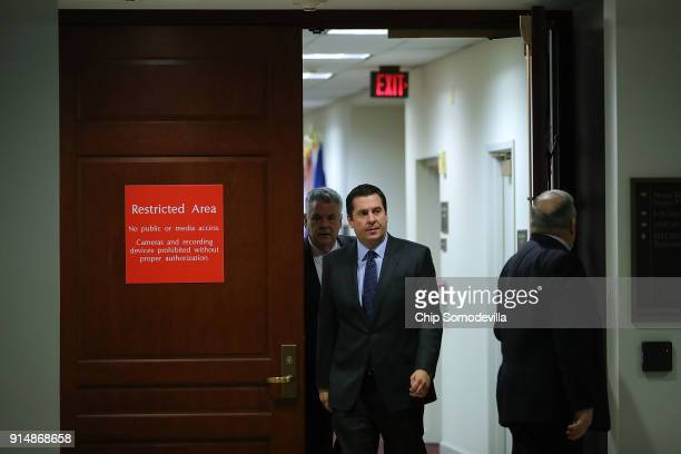 House Intelligence Committee Chairman Devin Nunes and Rep Peter King leave the committee's secure meeting rooms in the basement of the US Capitol...