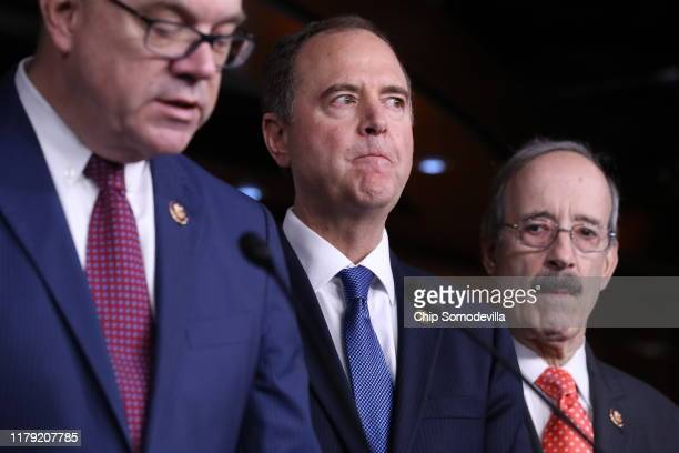 S House Intelligence Committee Chairman Rep Adam Schiff attends a press conference after the close of a vote by the US House of Representatives on a...