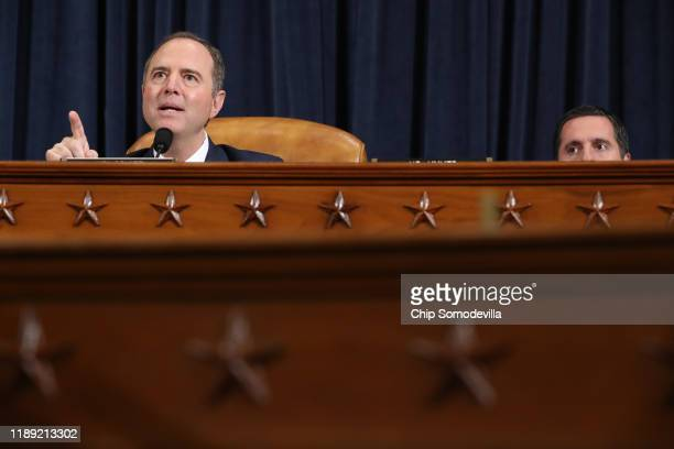 House Intelligence Committee Chairman Rep Adam Schiff delivers closing remarks as ranking member Rep Devin Nunes listens at the end of an impeachment...