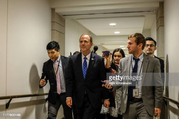 House Intelligence Committee Chairman Rep Adam Schiff departs after a closed session before the House Intelligence Foreign Affairs and Oversight...