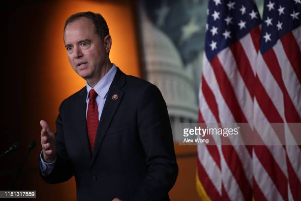 S House Intelligence Committee Chairman Rep Adam Schiff speaks during a news conference at the US Capitol October 15 2019 in Washington DC Speaker of...