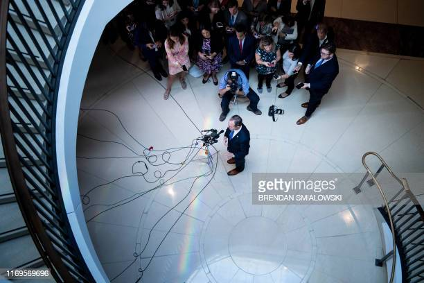 House Intelligence Committee chairman Rep Adam Schiff speaks to reporters during a briefing on Capitol Hill about a whistleblower September 19 in...