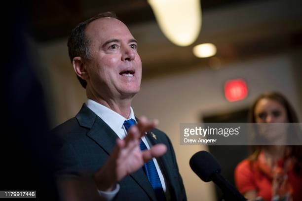 S House Intelligence Committee Chairman Rep Adam Schiff speaks to reporters following a closeddoor hearing with the House Intelligence Foreign...