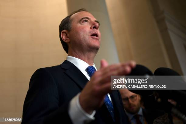 House Intelligence Committee Chairman Rep Adam Schiff speaks to reporters during the House Intelligence Committee hearing as part of the impeachment...