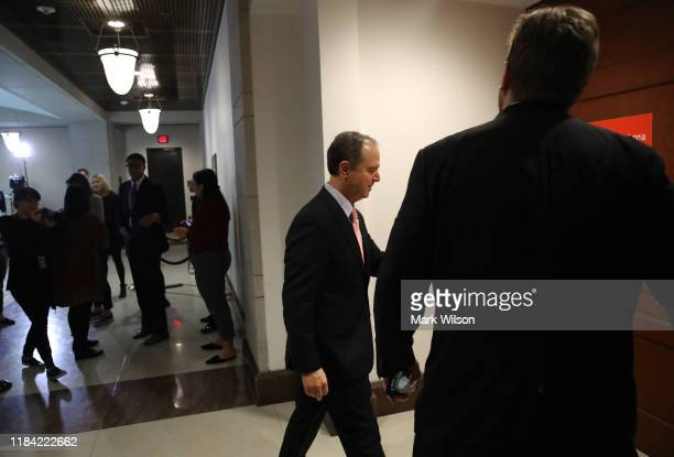 S House Intelligence Committee Chairman Rep Adam Schiff walks to a closeddoor deposition on Capitol Hill October 29 2019 in Washington DC Today Lt...