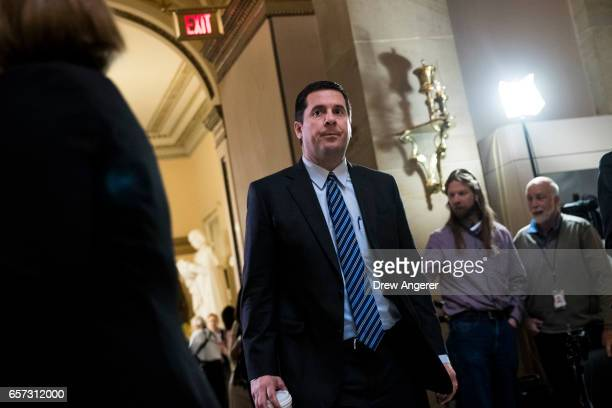 House Intelligence Committee chairman Rep Devin Nunes leaves the House floor on Capitol Hill March 24 2017 in Washington House Republicans are...