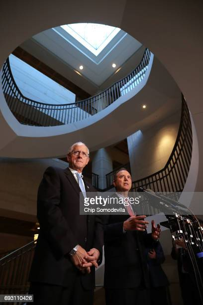 House Intelligence Committee ranking member Rep Adam Schiff and Rep Mike Conaway who together are leading the committee's investigation into Russian...