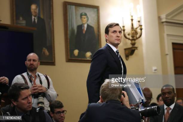 House Intelligence Committee staff lawyer Daniel Goldman, representing the majority Democrats, arrives before testifying to the House Judiciary...