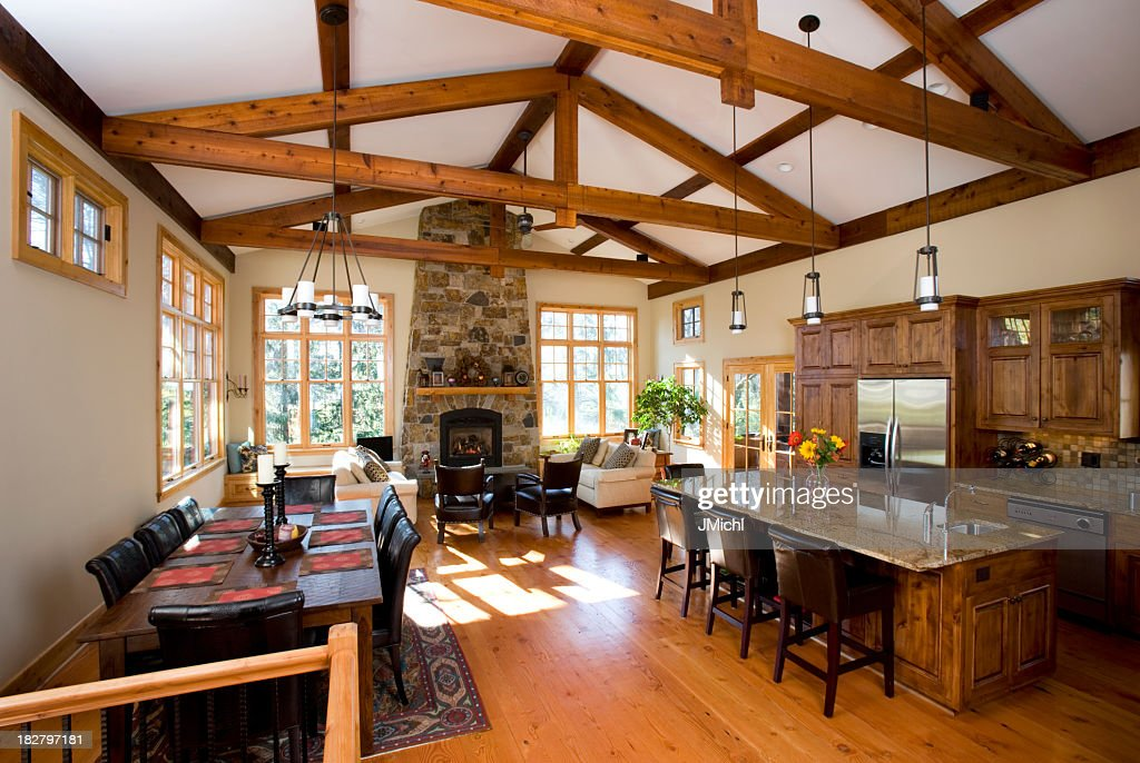 House Interior Showing Kitchen , Living And Dining Areas.