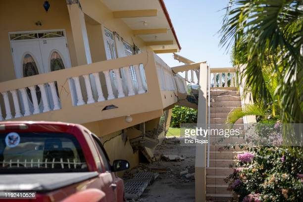 House is collapsed after a 6.4 earthquake hit just south of the island on January 7, 2020 in Guayanilla, Puerto Rico. This morning's earthquake was...