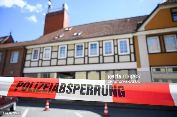 A house is cordoned off in Wittingen northern Germany where two bodies were found on May 13 2019 during investigations into the deaths of three...