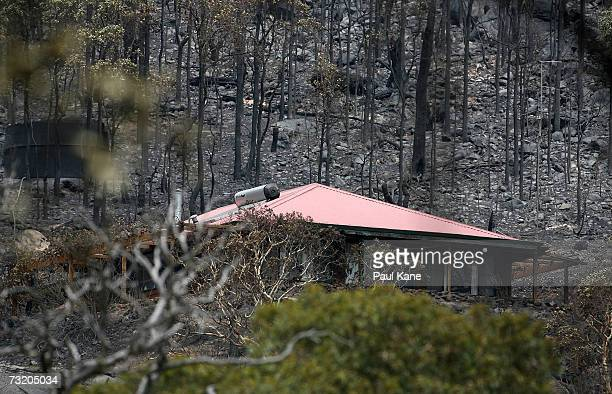 A house is pictured amongst bushland which has been burned by severe bush fires in Dwellingup South of Perth February 05 2007 in Dwellingup Australia...