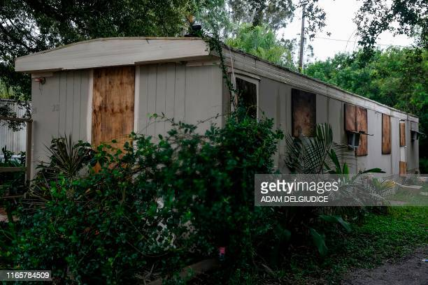 House is pictured at the Manatee Mobile Home & RV Park in Fort Pierce, Florida on September 2, 2019. - Monster storm Dorian stalled over the Bahamas...